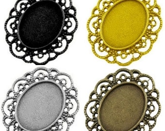 Cameo Cabochon Settings - to fit 25 x 18 mm Cabochon in Black, Antique Bronze, Gold Plated or Silver Plated