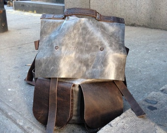 iPad backpack Thick leather rucksack City purse convertible