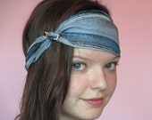 Turban Style Headband in Light Blue Stripes with Faux Diamond Pin Accent