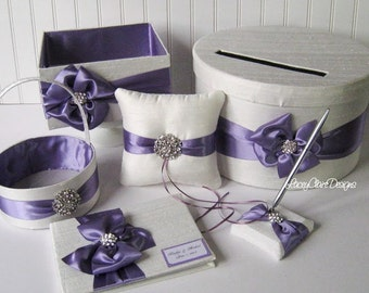 Wedding Card Box Set - with Ring Pillow, Flower Girl Basket, Guest Book and Program Box Custom Made