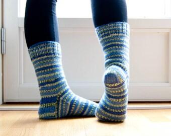 Hand knit socks in stripes in blue - skye blue. Warm wool blend.