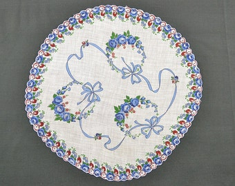 VINTAGE HANKIE, Dozens of Tiny Blue Roses on White, Blue Ribbon Garland Round, Scalloped Edge, Corded, Pocket Hankie, Excellent Condition