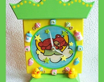 Handmade, Childrens Clock, Nursery Clock, Shower Gift, Unique Gift, Baby Showe rGift, Battery Operated