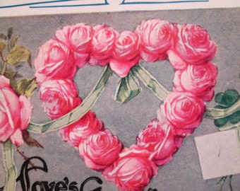 Victorian Postcard  - Heart  Wreath of Pink Roses  - Love's Greetings - Flowers Green Ribbon - Valentine  - Pretty Postcard