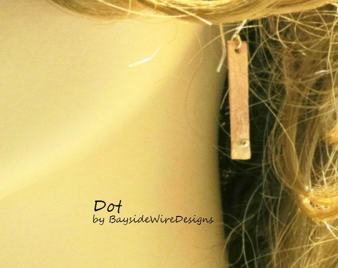 Dangle Earrings, Polka Dot, Silver Dot, Hammered Copper, Minimalist, Simple Earrings, Handmade Jewelry, Gift Idea,