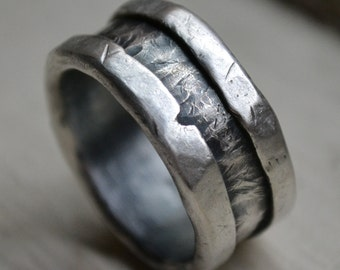mens wedding band - fine and sterling silver ring handmade wedding band, rustic men's wedding band - customized, custom hand stamping