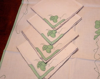 Vintage Tablecloth and Napkins Set- Appliqued Green and Off White Table Set