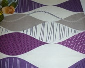 "Grape Purple Table Runner Funky Retro Designer Cotton (54"" 137cm) 4 Pattern choices"
