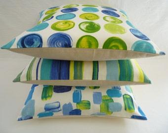 """Funky Retro Blue Lime Green Designer Cushion Cover. Pillow, Sham, Slip 16"""" (40cm)"""