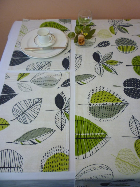 Lime Green Grey Placemats 4 Funky Floral Fabric Washable