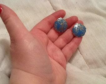 Vintage Blue Enamel Flower Earrings