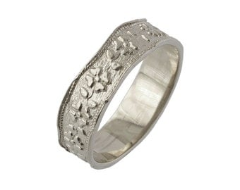 Art Nouveau Floral Wavy Wedding Ring in 14k White Gold
