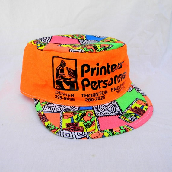 Fresh Prince of Bel Air- Vintage 90s Neon Orange/Green/Pink/Blue Snapback Cap - Surfer/Skater/Painter LOGO HAT w Psychedelic Lizard Print
