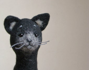 Felt Cat - Felix. Art Puppet, Felted Toy Halloween Gift  Stuffed Felt Animal eco friendly Kitten Marionette plush for kids, black, for him.