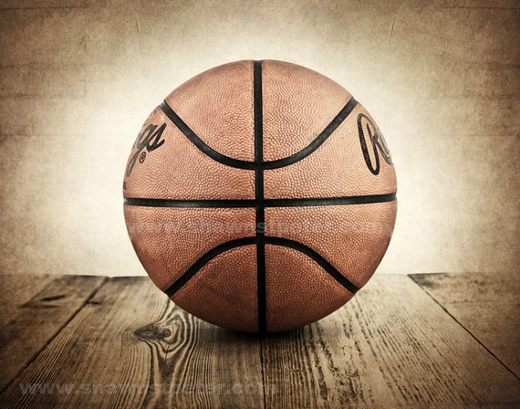 Vintage Basketball On Wood Photo Print Boys Room Decor Boys