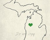 Married in the mitten-Digital download (michigan love personalized wedding gift)