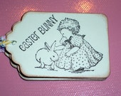 Easter Gift Tags - Little Girl Petting the Bunny Rabbit-Set of Six-Cute