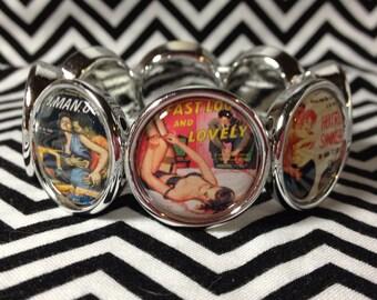 Pinup girl pulp novel cover bracelet