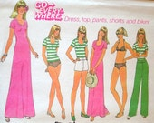 Vintage 1976 Simplicity 7526 Go Everywhere Dress, Top, Pants, Shorts, and Bikini Pattern Size 12 Bust 34
