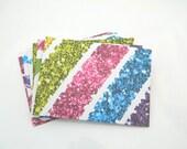 Cash Paper Envelopes - Set of 6 - Money Envelopes, Mini Envelopes, Blue, Green, Purple, Pink, Teal, White, Diamonds, Figures, Party Favor