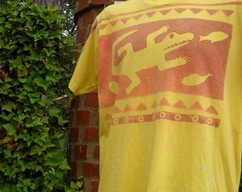 Men's Yellow OOAK Crocodile shirt in M