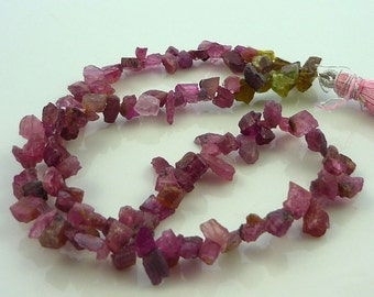 Gorgeous rough pink tourmaline top drilled crystals/ shards 5-9mm 1/2 strand