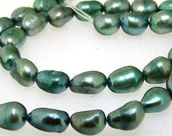 "Rice Freshwater pearl Cultured Pearl Green  Pearl 7mm-8mm Gemstone Beads Full Strand 15"""
