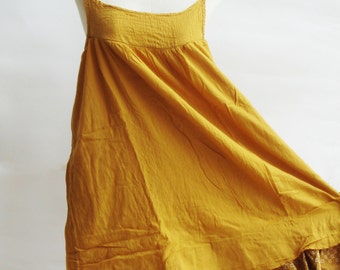 D17, Easy Going Summer Bright Yellow Cotton Dress