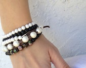 Silver plated star dust beaded stretch bracelet