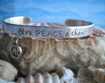 Peace War Harmony Cuff Bracelet Hammered Jewelry Charm One size fits all Give Peace a Chance Uniquely Impressed