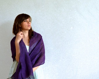 Purple Linen  Scarf Deep Purple Shawl Bridesmaids Stole Sheer Linen Scarf Accessory