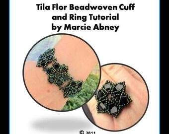 Beadweaving Tutorial Bracelet - Tila Flor Beadwoven Bracelet and Ring Instant Download