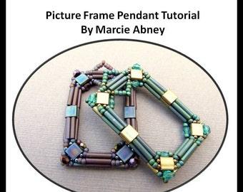 Beadweaving Tutorial - Picture Frame Beadwoven Pendant Tutorial Instant Download