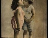 Vintage Photo, photograph, digital download, Kissing Kids