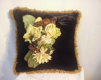 Black Velvet Pillow /Antique Reclaimed Silk Flowers & Chenille Fringe