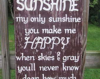 You are my Sunshine SIGN Subway Distressed Plum Gray Handmade Hand-painted Wooden 12x24 WHAGN Made to Order