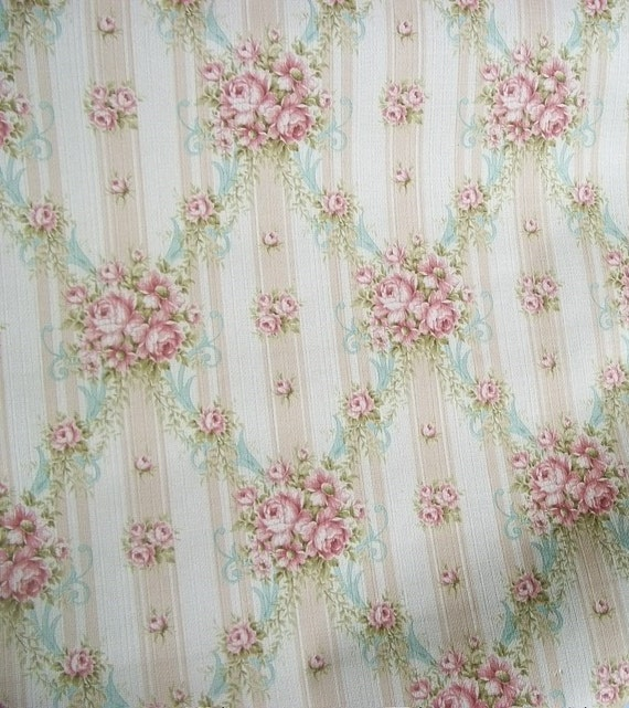 Vintage french wallpaper 1940s cottage roses and ribbons for Old french wallpaper