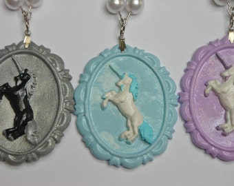 Sweet Unicorn Necklace with Hearts and Pearls Available in 6 Colors