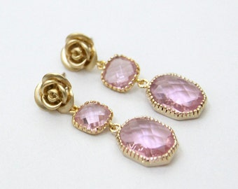 Versailles Rose. Rose Pink Faceted Stone Post Earrings