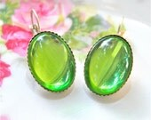Peridot Green Glass Oval Silver Plated Scalloped Lever Back Vintage Drop Dangle Earrings - Wedding, Bridal , Beach , Bridesmaid