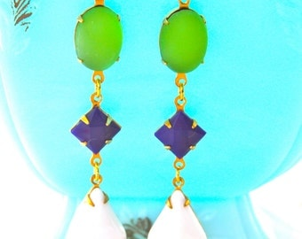 Peridot Lime Green Frosted Vintage Navy Blue Square White Pear Tear Drop Dangle Earrings - Preppy,Statement Earrings, Wedding, beach, Bridal