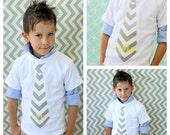 Wedding Ring Bearer Children Clothing, Birthday Outfit Chevron Fabric Tie Shirt w Personalization Monogram. Youth Boy's, Gray, Yellow