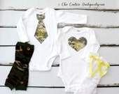 Baby Boy OR Baby Girl Camo, Camouflage, Welcome Home Daddy, Patriotic Personalized Tie OR Heart Bodysuit SET with Leg Warmers. Coming Home