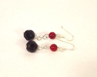 Black Polka Dot Agate and Red Coral Earrings, Dangle Earrings, Red and Black Earrings, Gemstone Earrings, UK Seller