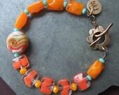 Vintage Style Bracelet, Glass Bracelet, Handmade Bracelet, Orange, Tangerine,Bronze, Turquoise,Lampwork Bracelet