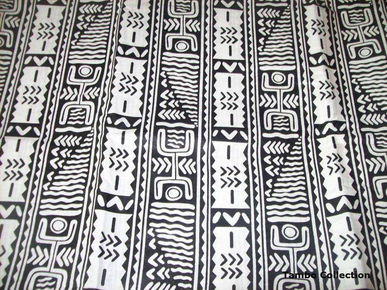 Black and white Dogon tribal print fabric per by ...