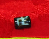 Vintage Old Used Hand Made Tibetan Agate Small Tapered Barrel Dzi Bead with Swastika & O