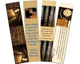 "Bookmarks. PDF, ""Book Lovers 2"", 4 printable digital designs"