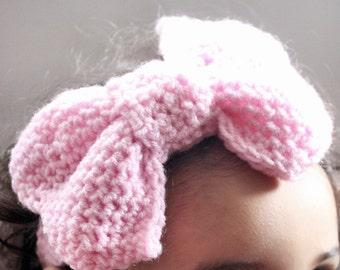 SALE 0 to 3m Newborn Bow Headband Pink Bow Baby Shower Gift Baby Headband Big Bow Newborn Girl Pink Headband Newborn Headband Costume Gift
