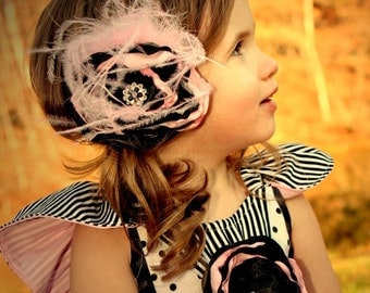 Flower Feather Hairclip Pink Black